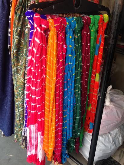 Leheriya Dupattas at display at Bapu Bazaar
