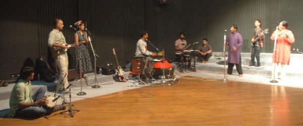 The artistes rehearsing for the show