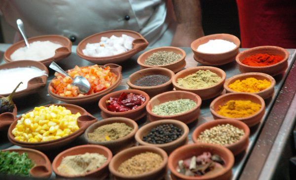 Ingredients kept in earthen dishes at Hotel ITC Rajputana, an inspiration from the Hadoti Region