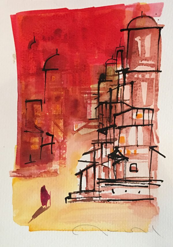 artist-pablo-ramirez-arnol-walking-india-series-v-watercolor-on-paper-9-x-7