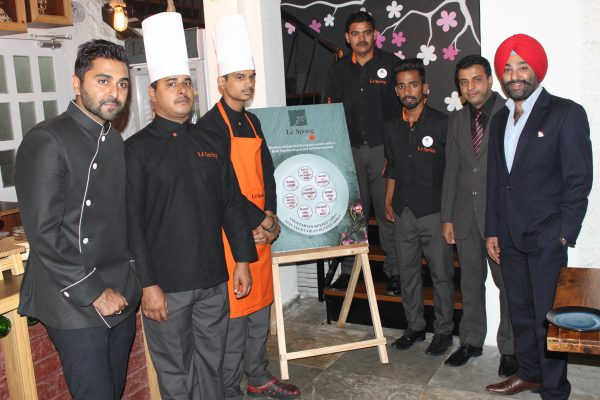The hospitable staff at Le Spring. with Chef Nitin Bajaj first from left) and Karanbir Singh Gulati first from right)