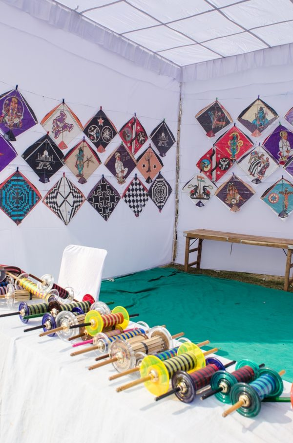 Kites on display at Jal Mahal