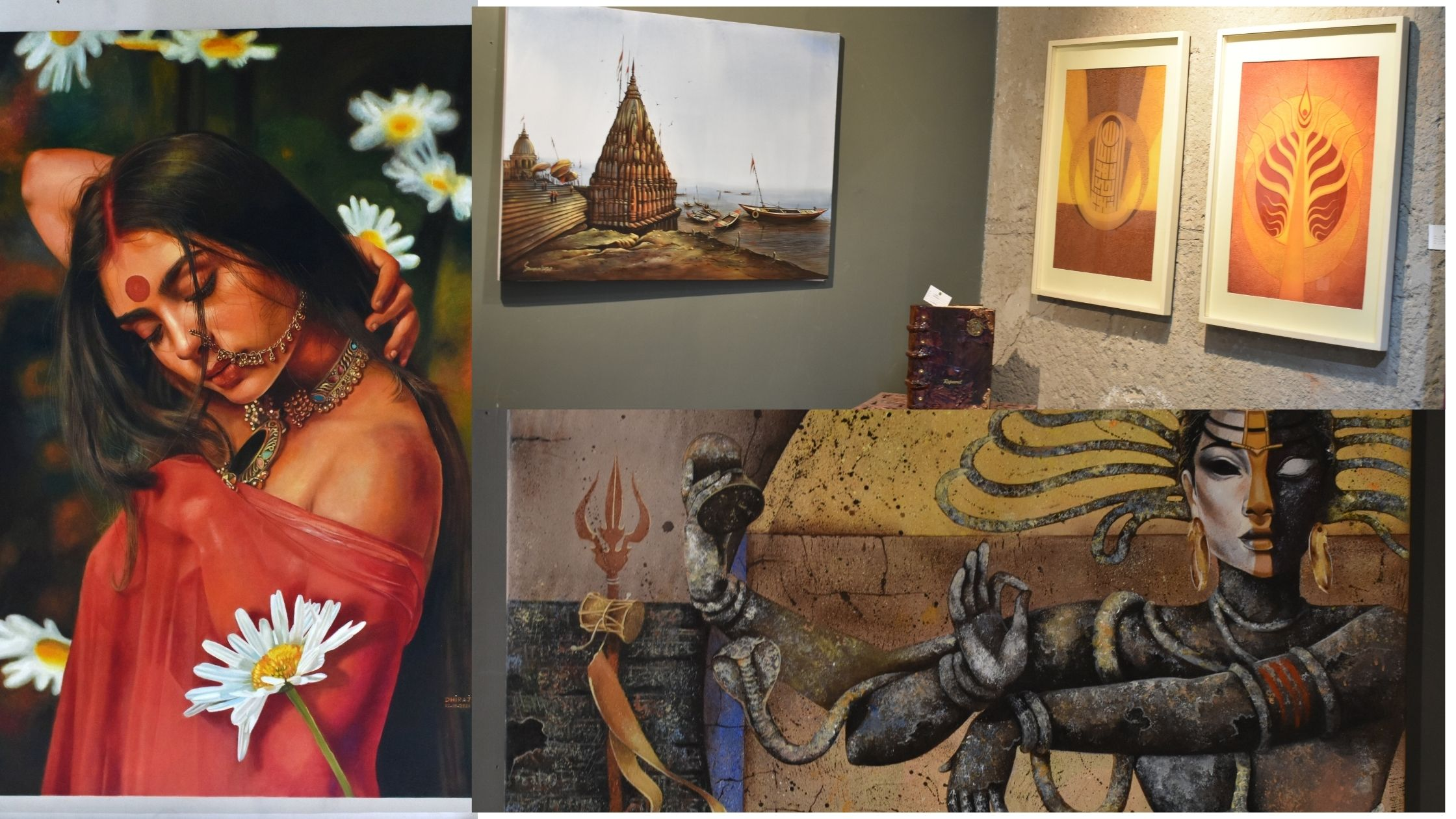 Curated by artist Hem Rana, the 'Glimpses of Art' exhibition at the ICA Art showcases over 100 contemporary art works of 32 artists from different parts of India. From abstract and figurative art to paintings depicting surrealism, impressionism and realism, there is a lot for art lovers to soak in at the exhibition.